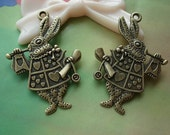 10 pcs 35x25mm Antique Bronze Brass Double Sided Alice Rabbits Bunny - Alices Wonderlands Charms Pendants tg106499g964052