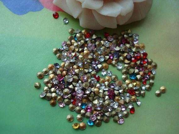 300 pcs 2mm Mixed Colors Diamonds Stones Beads Rhinestones Cabochon Cameo Cabs g962052