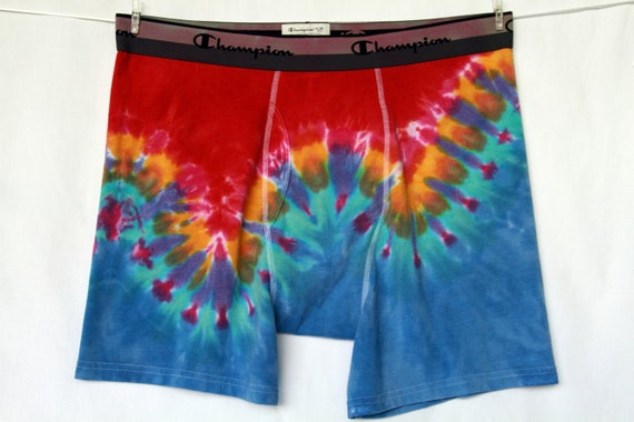 Men's Boxer Briefs XLarge Tie Dye Red Sky Blue Turquoise Yellow Lime Green Lilac 2tiedye4