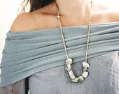 Jewelry Chunky Gemstone Necklace - Quartz, Pyrite and Sterling Silver Necklace  - Natural Handmade Jewelry