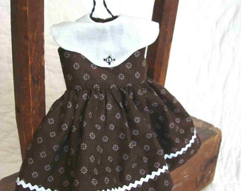 Doll Dress SchoolGirl Frock Brown Cupcake Dress Embroidered Collar White Rickrack Peony Magnolia Biscuit