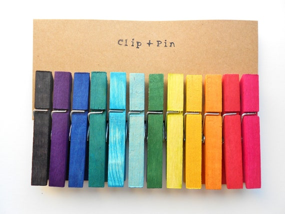 Rainbow Clothespins - Large - Set of 12