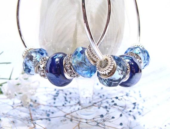 Blue Sapphire Hoop Earrings with Crystals and Rhinestones