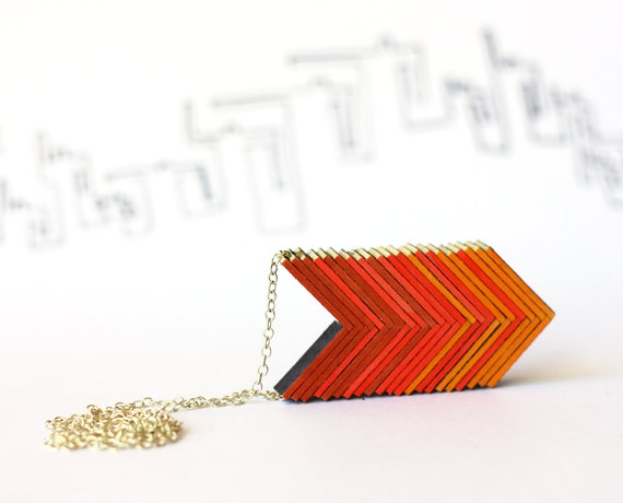 Ombre arrows necklace - red orange necklace, warm shadows
