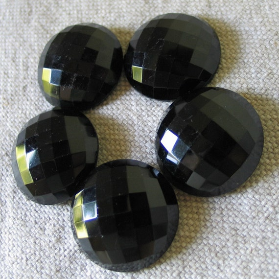 Victorian Faceted Black Glass Buttons 3cm