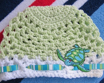 Sea turtle crochet baby beanie