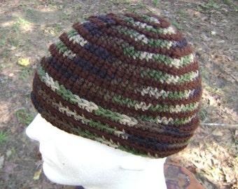 Crochet Hat  Beanie Skullcap Camo Camouflage and Brown Stripe Hunters Men Women Teen