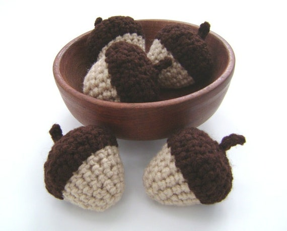 Crochet Acorns Bowl Fillers Fall Halloween Thanksgiving Decoration Set of 5