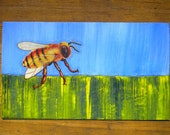 Mini Fuzzy Honey Bee - Oil Handpainted Magnet ACEO (Free US Shipping)