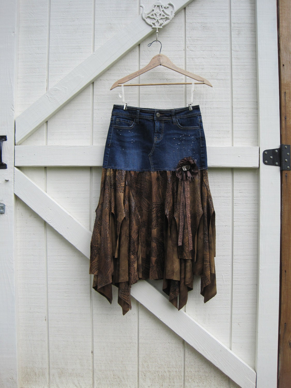 Reserved For Janna Boho Cowgirl Skirt Tattered Bohemian