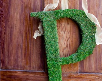 Moss Covered Letter - Moss Monogram Wedding Letters -  24 inches