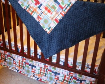Going Coastal Plaid and Navy Minky Blanket