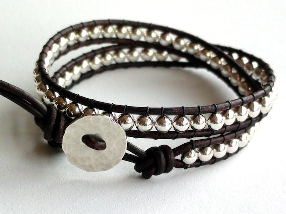 Sterling Silver Leather Wrap Bracelet