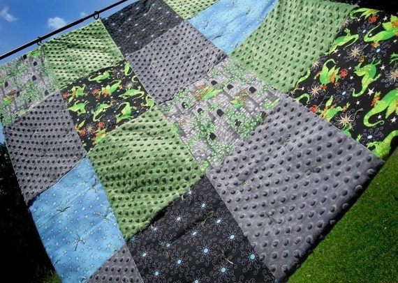 Hand Tied Quilt: Dragon Themed Cotton Fabrics with Green and Grey Minky