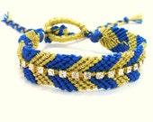 Rhinestone Friendship Bracelet In Blue & Gold Metallic Chevrons