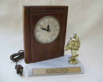 Vintage Motorcycle Trophy and Clock