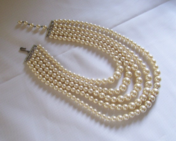 Faux Pearl Bead Necklace Five Strands