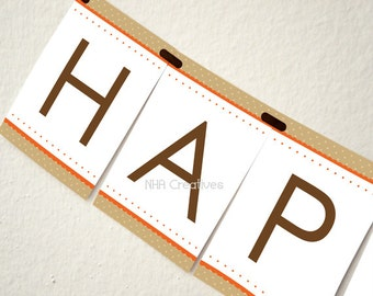 Happy Thanksgiving Banner - DIY Printable Digital File
