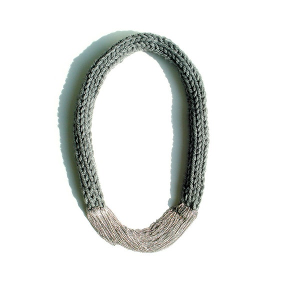 Hand-Knitted Long Necklace - Gray