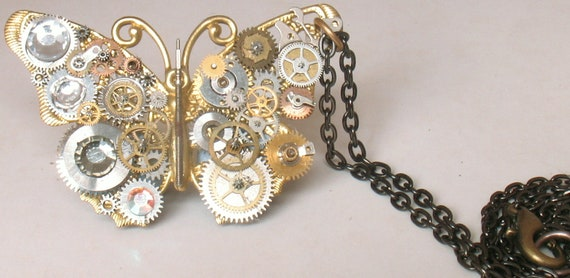 OOAK Steampunk Butterfly Pendant Necklace antique watch parts with antique gold chain Steampunk cog necklace