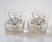 Mid Century Barware, Houston Astrodome Old Fashioned Whiskey Souvenir Glasses