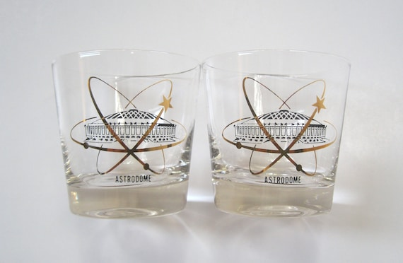 Mid Century Barware, Houston Astrodome Old Fashioned Whiskey Souvenir Glasses