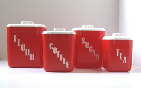 Kitchen Canister Set, Vintage Red Kitchen, Retro Plastic Canisters
