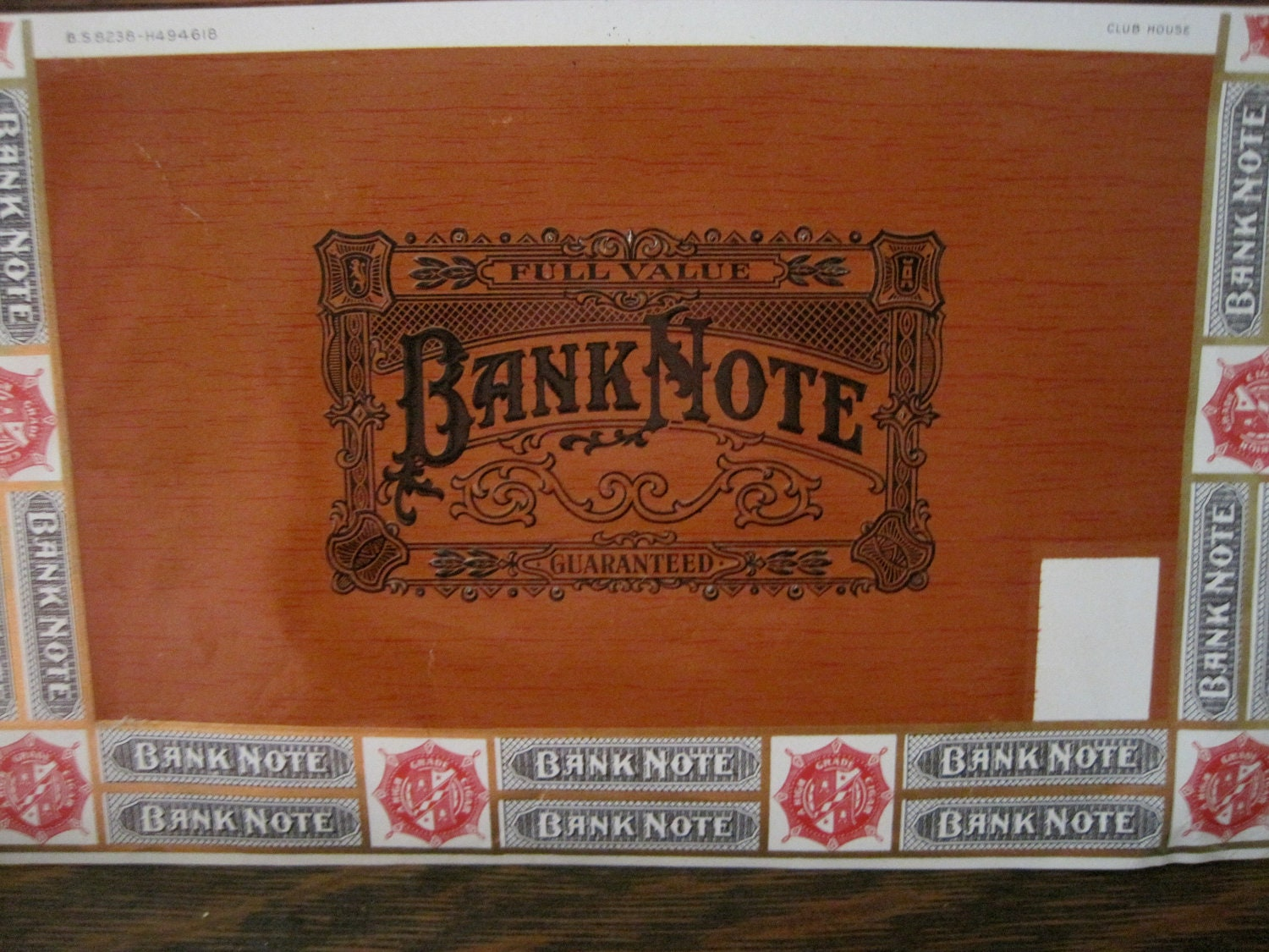 Box Label: Vintage Bank Note Cigar Box Labels