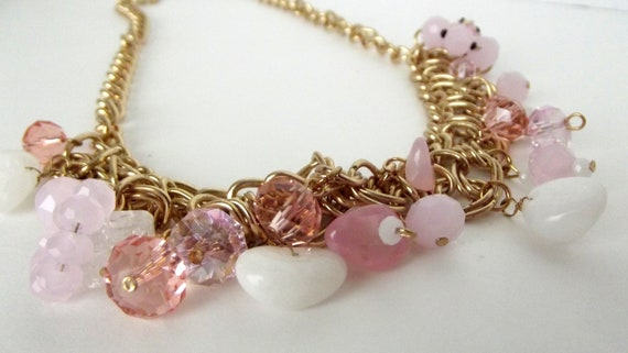 Pink Charm Necklace, Pink Necklace, Necklace & Earring Set, OOAK