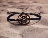 Navy Blue Wooden Snowflake Charm Macrame Bracelet