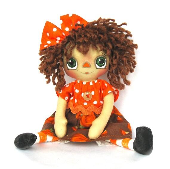 Primitive Raggedy Ann Doll- Autumn pumpkin annie castteam