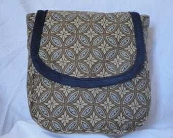Spacious Patterned Brown and Blue Belt Pouch