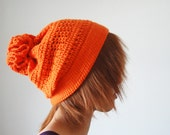 Crochet Hat in Orange for Women and Men, Pom Pom Hat, Slouchy Hat, Hand Crocheted Hat, Unique Flower Pom, Winter Accessories - lapuzelo