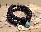 Evil Eye and Black Onyx stretch bracelets