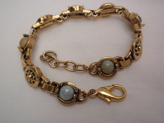 vintage bracelet, bronze color, multi-color thermoset stones