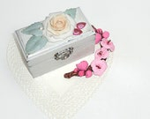 Shabby-chic  Personalized Proposal ring box Natural wood, Ring bearer, Engagement box, Trinkets box (3 3/4'' - 2'' - 2 1/4'' )