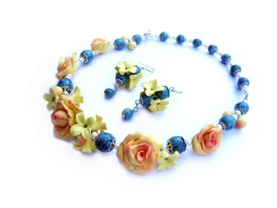 Summer Polymer clay Jewelry Set (necklace and earrings) with yellow roses and turquoise beads.