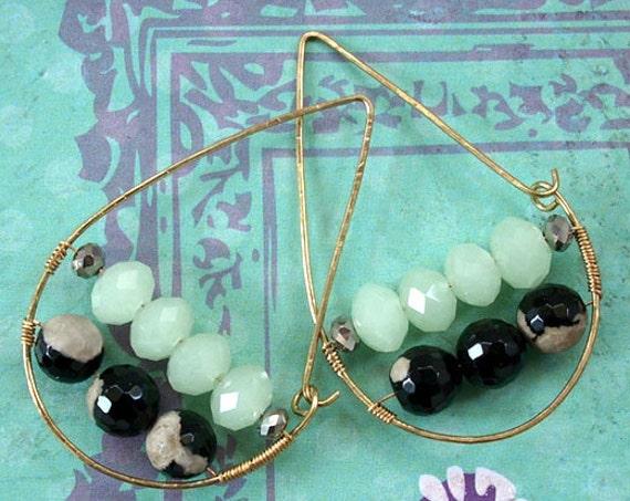 Mint Green Czech Glass, Black Agate Teardrop Hoop Earrings