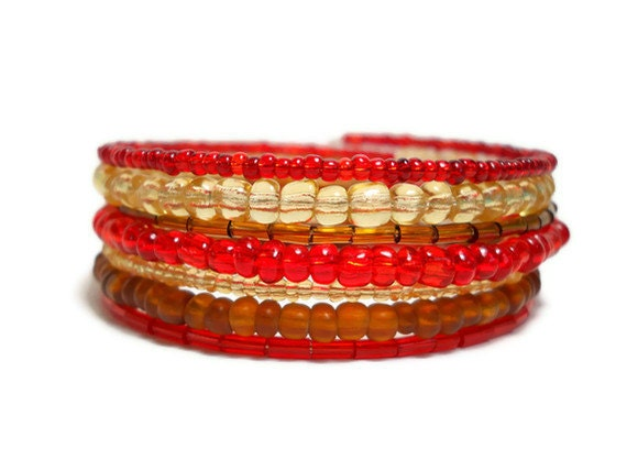 Red and Brown Memory Wire Bracelet Stacked Bracelet