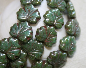 NEW 10 x 13mm . Czech Pressed Glass Maple Leaves for Fall . forest green wth red mahogany veins  . 10 beads