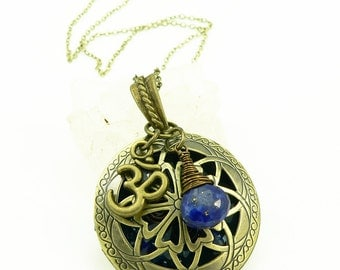 Orgone Energy Locket - Antique Bronze - Celtic Filigree Design - Lapis Lazuli Gemstone - Om - Artisan Jewelry
