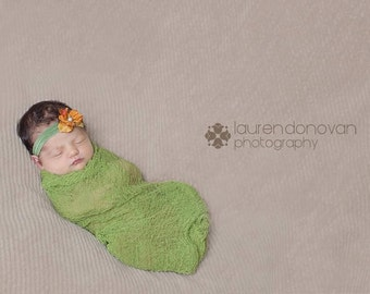 Baby Girl Photography Prop...Green Cheesecloth and Headband Set...Baby Bows...Hand Dyed Cheesecloth Wrap...Newborn Photo Prop