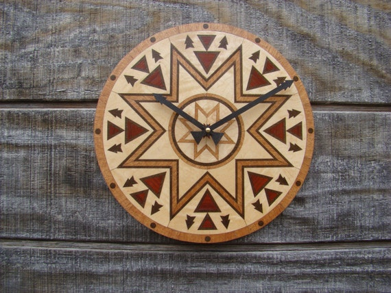 The Meeting Place wall clock.  A native American design. WC-15 Now with Free Shipping.