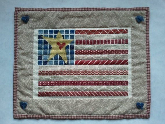 Americana flag cross stitch, rustic country style wall art