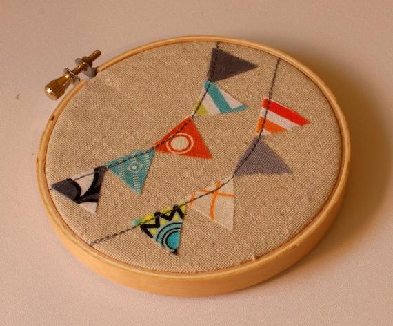 Embroidery Hoop Art- Appliqued Bunting: Orange, Aqua, Grey