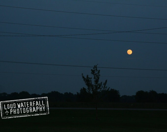 Full Harvest Moon Rising, Rural Oklahoma Landscape, Telephone Wires 5x8 Fine Art Photograph