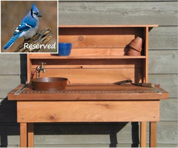 Custom Listing for Sandra - Potting Bench w Faucet, Sink & Shelf