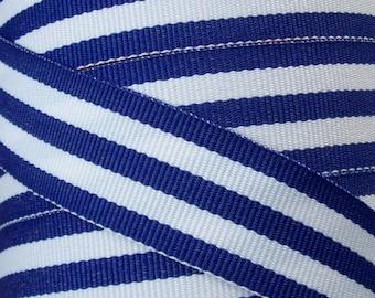 7/8 Inch Grosgrain Ribbon - Printed Grosgrain Ribbon - Blue White Classic Stripe Ribbon - Ribbon By The Yard - Ribbon Supply - Stripe Ribbon
