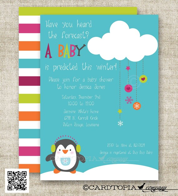 snowman penguin winter baby shower baby shower invitations for boy or