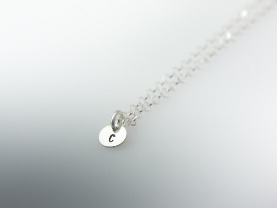 Necklace With Customized Tiny Silver Initial Charm